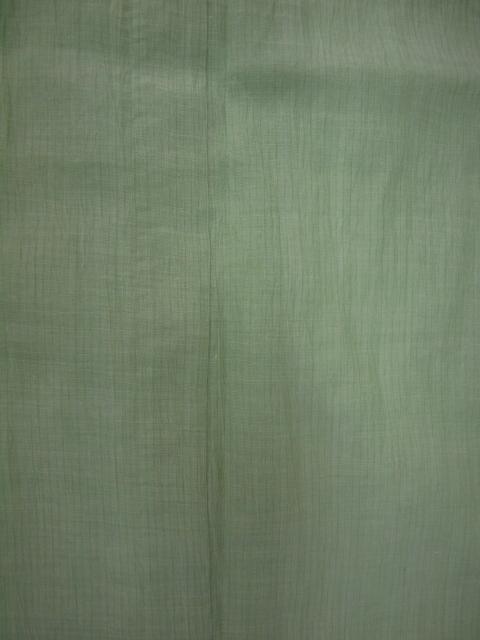 新品 1725 夏着物 お仕立て上がり『本場小千谷縮』 若葉色 縞_画像4