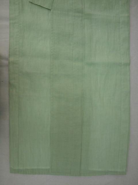 新品 1725 夏着物 お仕立て上がり『本場小千谷縮』 若葉色 縞_画像3