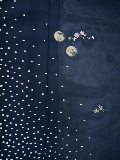 新品 1644 夏着物 大幅値下げ 正絹お仕立て上がり絽付け下げ 藍鉄系 水玉/小花 _画像7