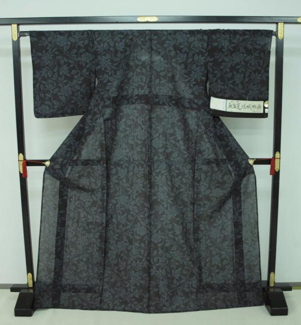 新品 1711 夏着物 大幅値下げ お仕立て上がり正絹 越後夏結城紬 黒/絹鼠系 _画像1