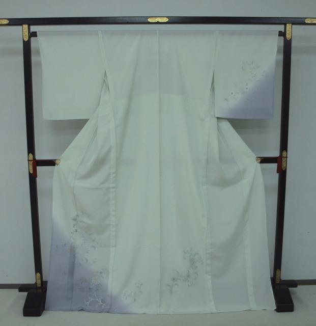 新品 1625 夏着物 大幅値下げ 正絹お仕立て上がり 付け下げ 絽 白緑/淡藤色 花唐草_画像1