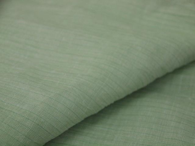 新品 1725 夏着物 お仕立て上がり『本場小千谷縮』 若葉色 縞_画像5