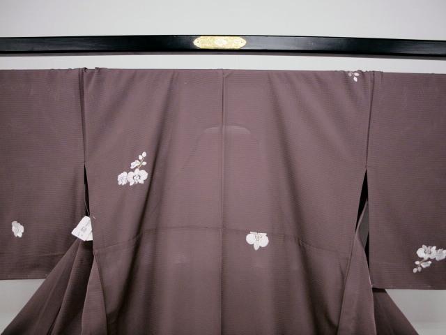 新品 1568 夏着物 大幅値下げ 正絹手縫いお仕立て上がり絽訪問着 葡萄鼠系 胡蝶蘭刺繍_画像2