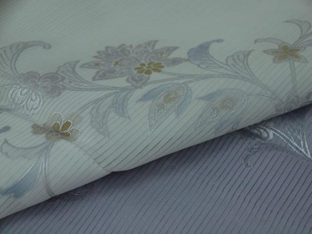 新品 1625 夏着物 大幅値下げ 正絹お仕立て上がり 付け下げ 絽 白緑/淡藤色 花唐草_画像7