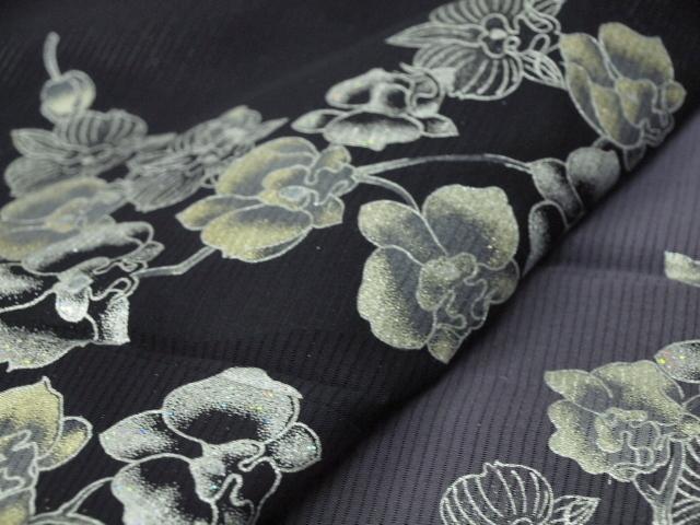 新品 1410 夏着物 大幅値下げ 手縫いお仕立て上がり 正絹絽訪問着 黒地 花柄 _画像7