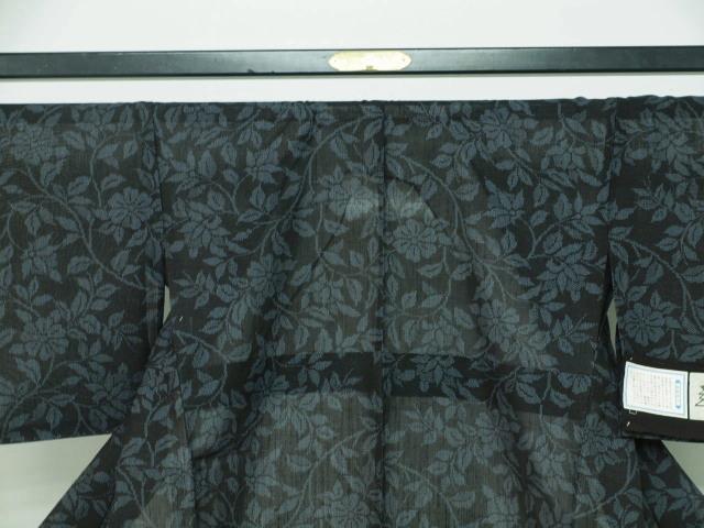 新品 1711 夏着物 大幅値下げ お仕立て上がり正絹 越後夏結城紬 黒/絹鼠系 _画像2