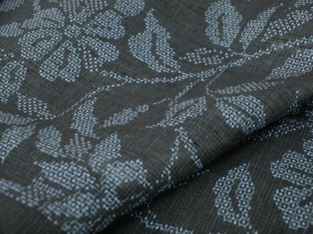 新品 1711 夏着物 大幅値下げ お仕立て上がり正絹 越後夏結城紬 黒/絹鼠系 _画像6