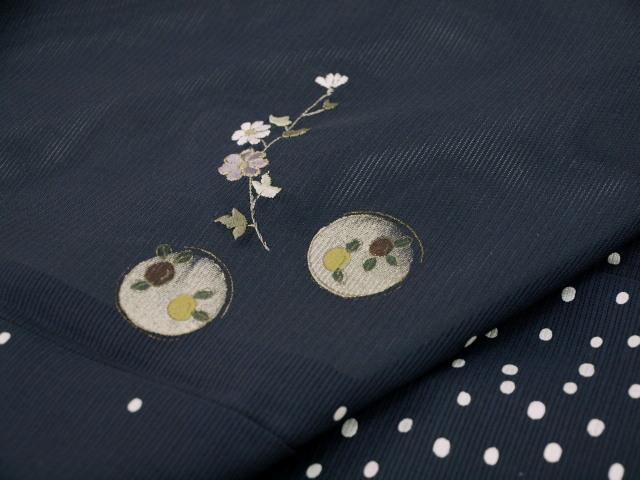 新品 1644 夏着物 大幅値下げ 正絹お仕立て上がり絽付け下げ 藍鉄系 水玉/小花 _画像8