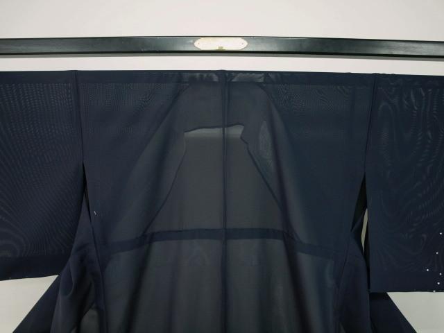 新品 1644 夏着物 大幅値下げ 正絹お仕立て上がり絽付け下げ 藍鉄系 水玉/小花 _画像2