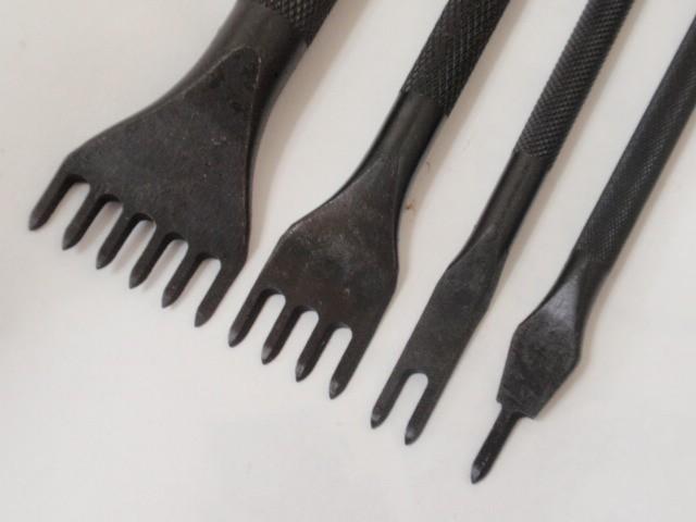 菱目打ち 4本セット(1, 2, 4, 6本目) 黒色 (5mm)レザークラフト道具