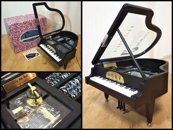 グランド ピアノ 楽器 型 アクセサリー ジュエリー ボックス 宝石箱 オルゴール 機能 箱 付き 未使用 保管品 アンティーク インテリア 飾り_画像1