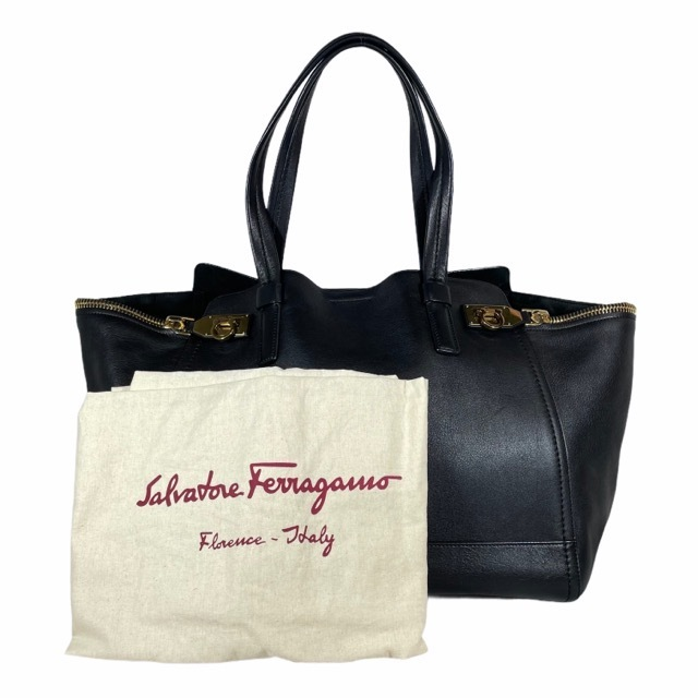 Salvatore Ferragamo フェラガ トートバッグ ハンドバッグ 手提げ バッグ レザー ガンチーニ ブラック ロゴ ゴールド金具_画像10