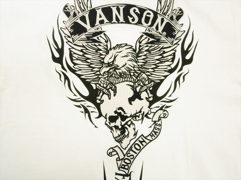 Vanson バンソン NVPS-2110 刺繍&プリント イーグル&スカル FALL RIVER ベア天竺生地 半袖ポロシャツ ホワイト XL 新品_画像2