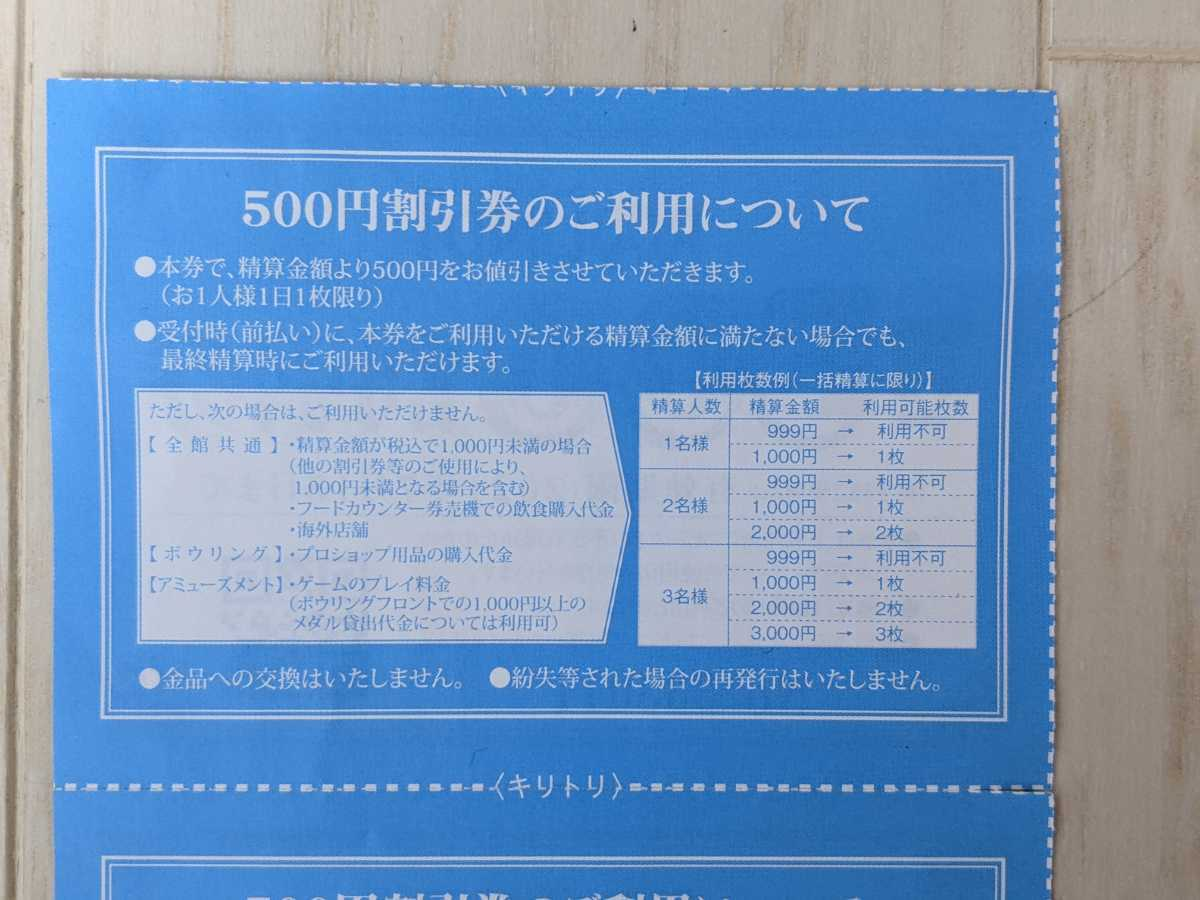 ROUND1 ラウンドワン 株主優待券¥500割引券×2枚 有効期限…2021年9月30日まで延長_画像2
