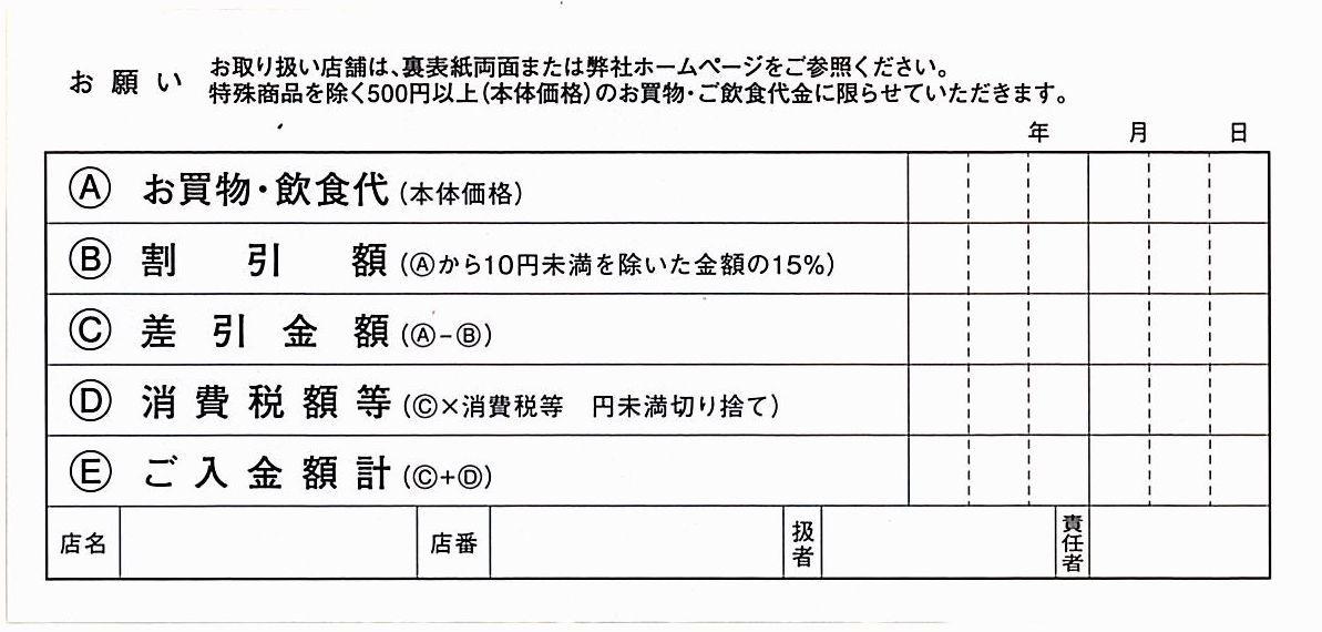 中村屋 株主優待 / 買物・飲食15%割引券【1枚】※複数あり / 2022.6.30まで_画像2