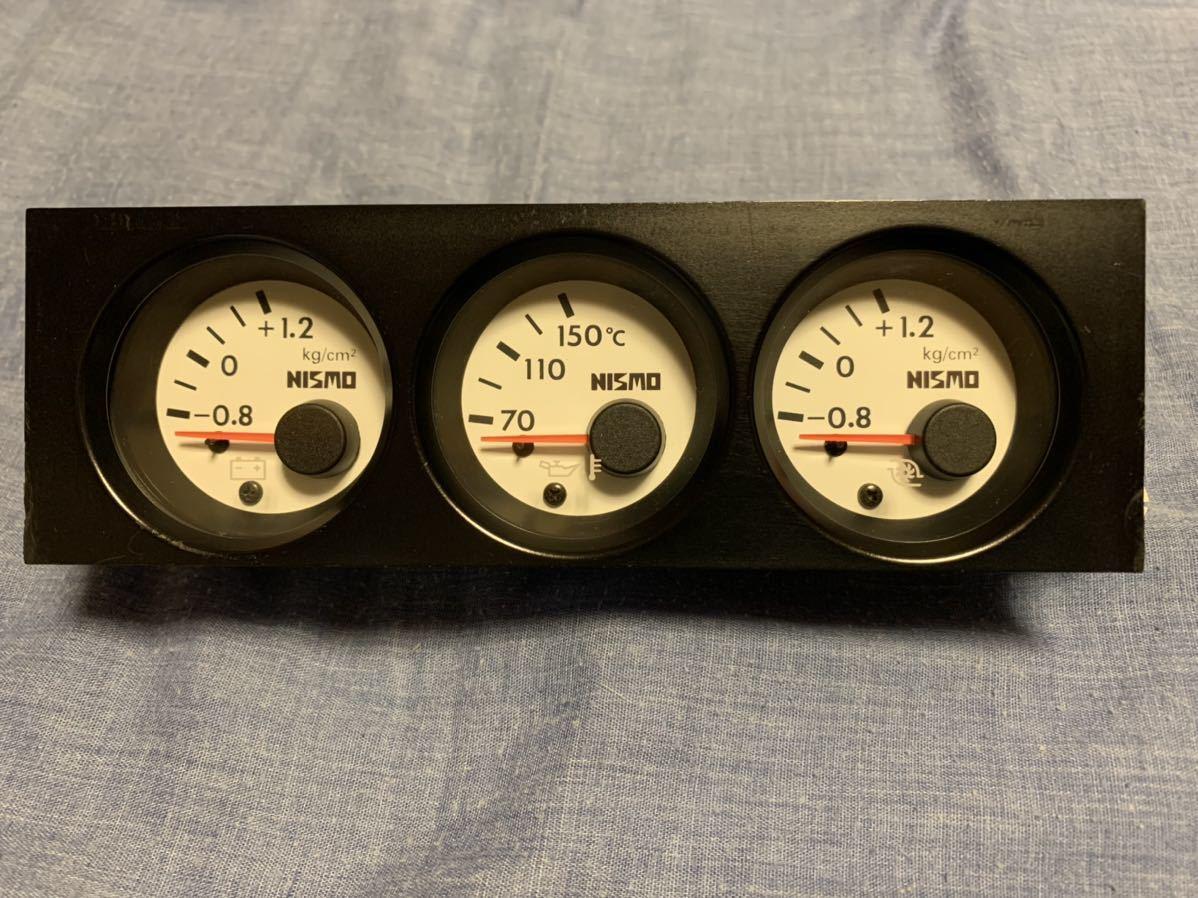 日産 スカイライン BNR32 GTR ニスモ NISMO 3連ホワイトメーター サブメーター ジャンク