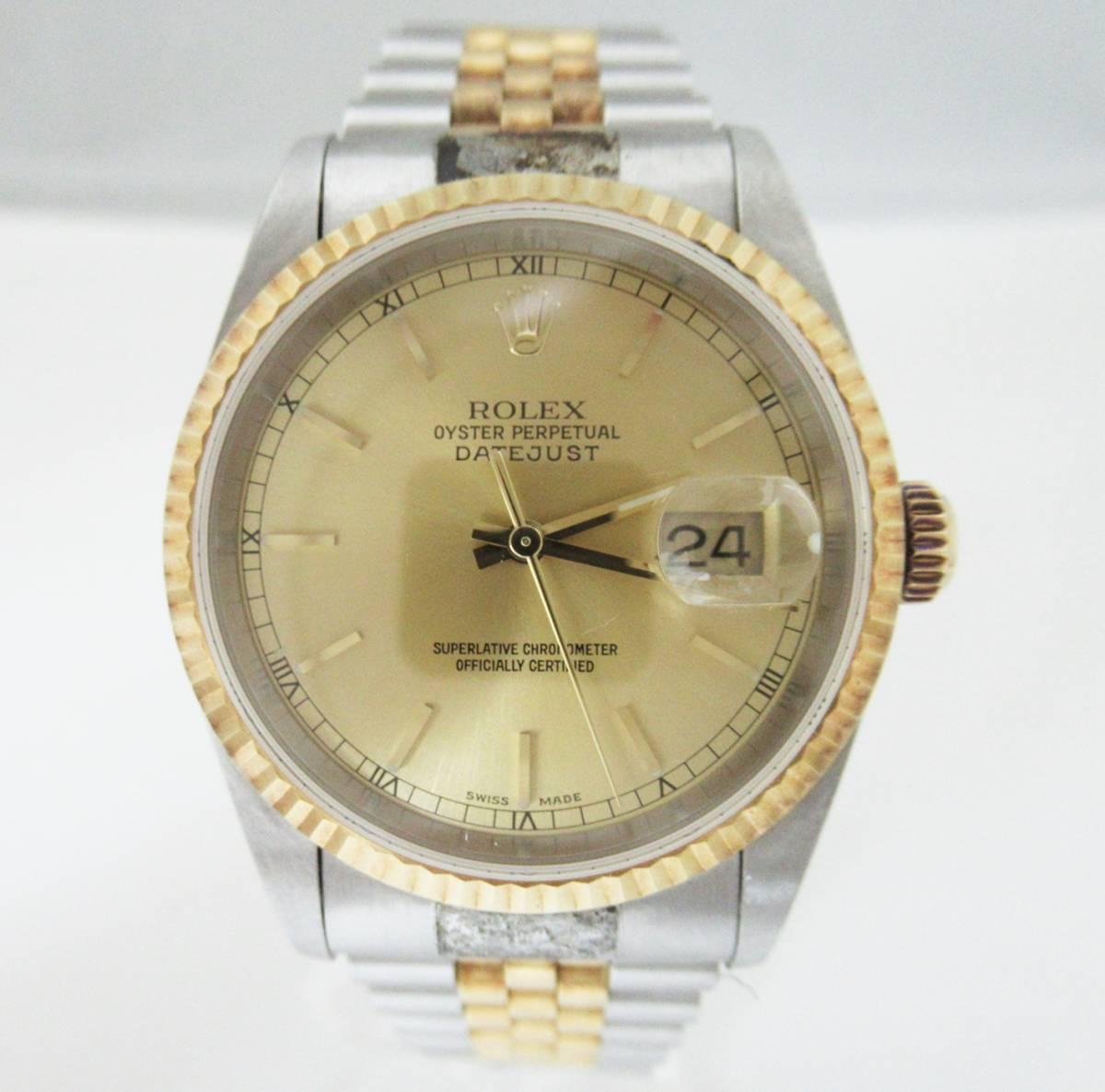 ★D0107★1円★ジャンク品 ROLEX ロレックス デイトジャスト 16233 P番 メンズ腕時計 稼
