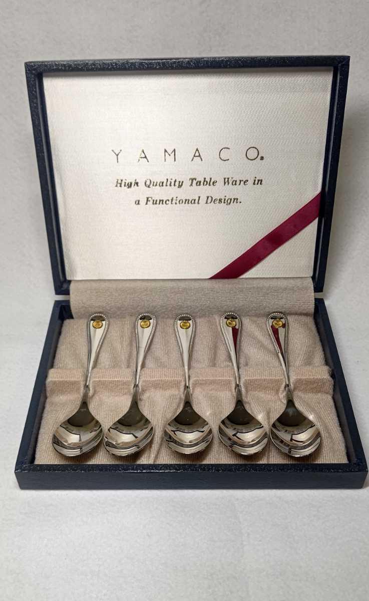 YAMACO スプーンセット 菊 紋章 箱入り 未使用