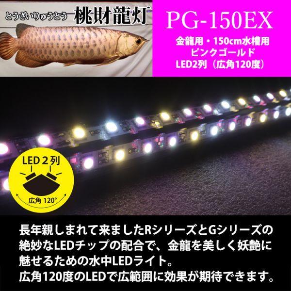 新発売 桃財龍灯 アロワナ ピンクゴールド 水中照明 LED 2列 ライト アクアリウム 金龍 大型水槽 150cm水槽用 でんらい PG-150EX_画像3