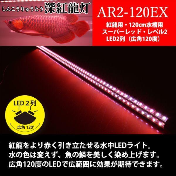深紅龍灯 アロワナ レッド レベル2 LED 2列 大型水槽 水中照明 アロワナライト アクアリウム 熱帯魚 紅龍 120cm水槽用 でんらい AR2-120EX_画像3