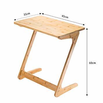 原木色-45×35×60cm リビング ソファ サイドテーブル ノートパソコンテーブル 竹製 ベッドサイドテーブル Z字型が使い_画像2