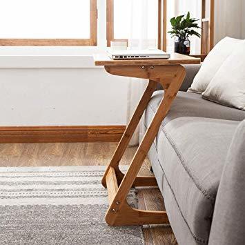 原木色-45×35×60cm リビング ソファ サイドテーブル ノートパソコンテーブル 竹製 ベッドサイドテーブル Z字型が使い_画像4