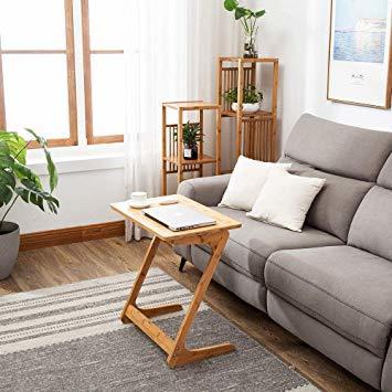 原木色-45×35×60cm リビング ソファ サイドテーブル ノートパソコンテーブル 竹製 ベッドサイドテーブル Z字型が使い_画像8