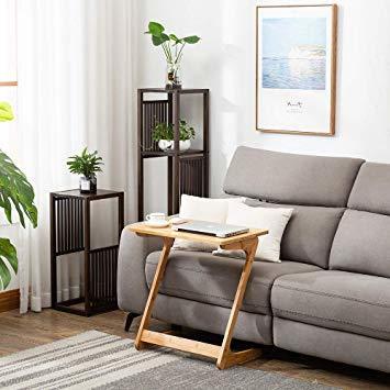 原木色-45×35×60cm リビング ソファ サイドテーブル ノートパソコンテーブル 竹製 ベッドサイドテーブル Z字型が使い_画像7