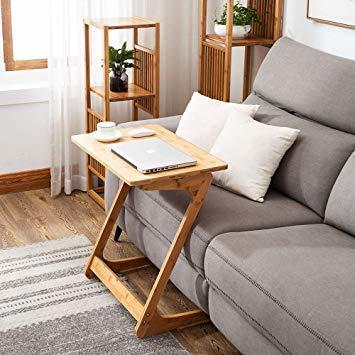 原木色-45×35×60cm リビング ソファ サイドテーブル ノートパソコンテーブル 竹製 ベッドサイドテーブル Z字型が使い_画像3