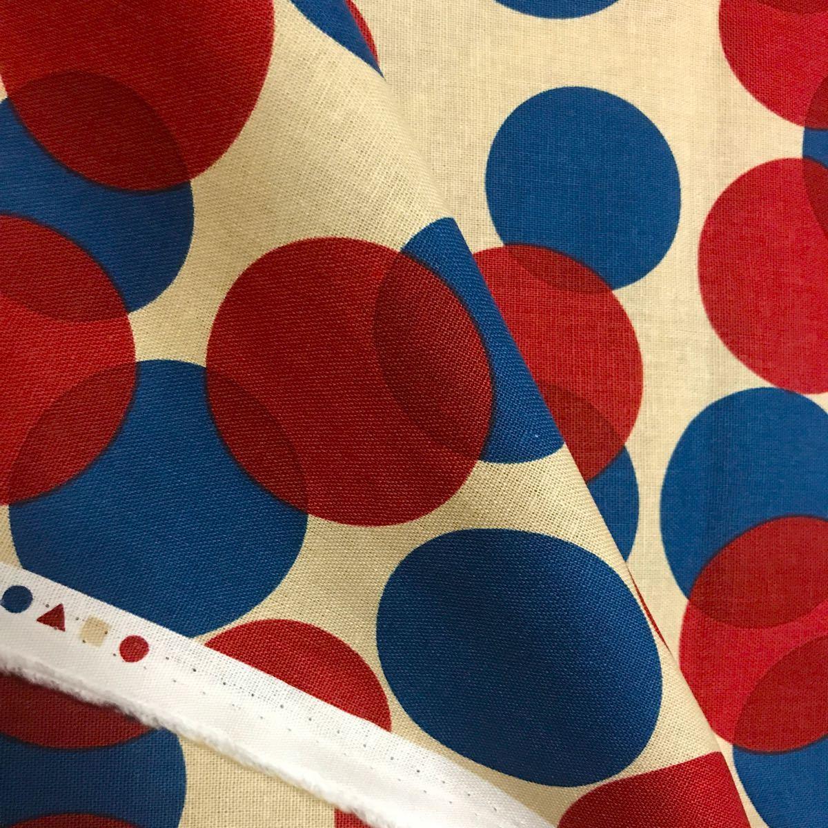 〈760円!最終価格〉北欧調 LECIEN ルシアン 大きな水玉ドット 赤とネイビー 綿麻キャンバス ※長さ 50cm