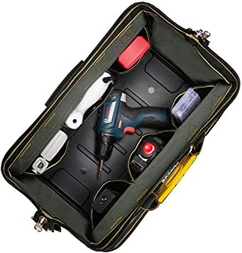 34.5x20.5x22CM YZL ツールバッグ 工具袋 ショルダー ベルト付 肩掛け 手提げ 大口収納 差し入れ 底部特化_画像5