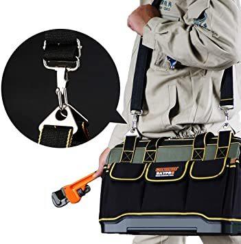 34.5x20.5x22CM YZL ツールバッグ 工具袋 ショルダー ベルト付 肩掛け 手提げ 大口収納 差し入れ 底部特化_画像6