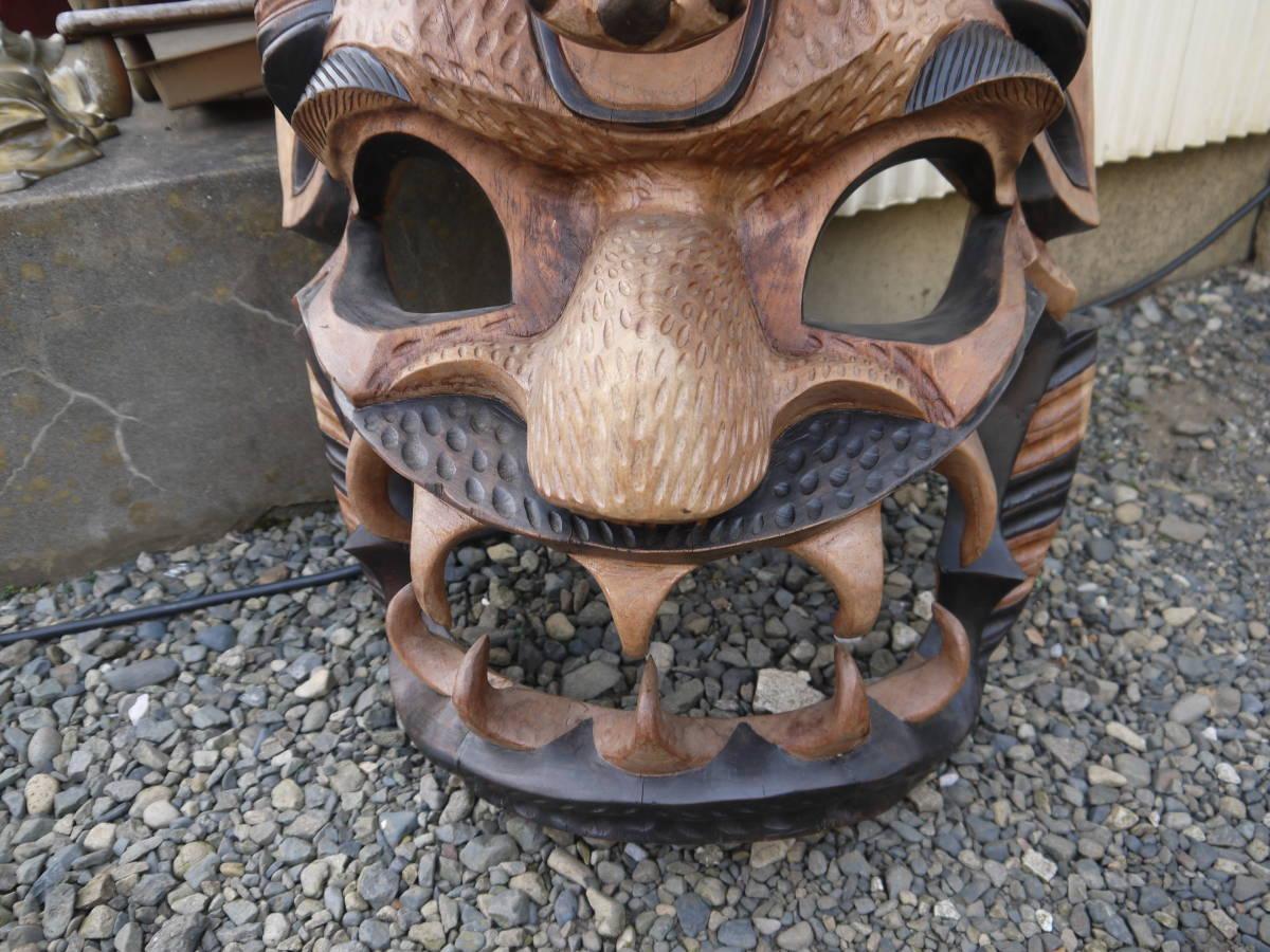 【H10719】特大 「横54cmx縦101cm」 お面 アフリカ ニューギニア ミクロネシア 木彫 壁掛け インテリア_画像6