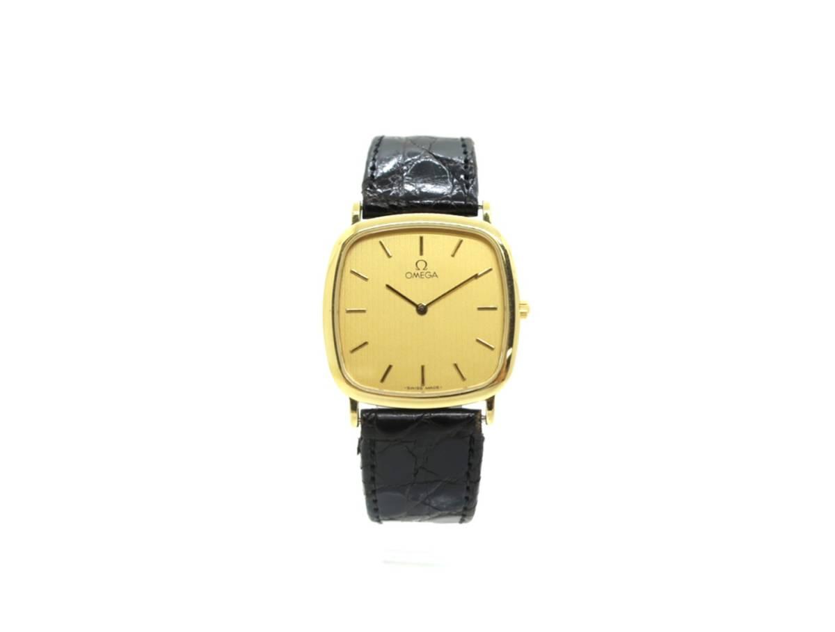 1円スタート 稼働品 OMEGA オメガ デビル De Ville クォーツ 腕時計 メンズ スクエアフェイス ゴールド文字盤 レザーベルト