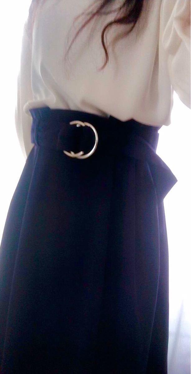 紺色ネイビー スエード調 フレアスカート USED オフィス 通勤 OL