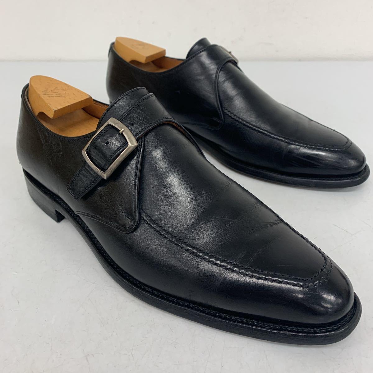 C ☆ 日本製 SCOTCH GRAIN スコッチグレイン 匠 HIROKAWA 本革 モンクストラップ ビジネスシューズ 革靴 25.5cm 黒 BLK メンズ 高級紳士靴