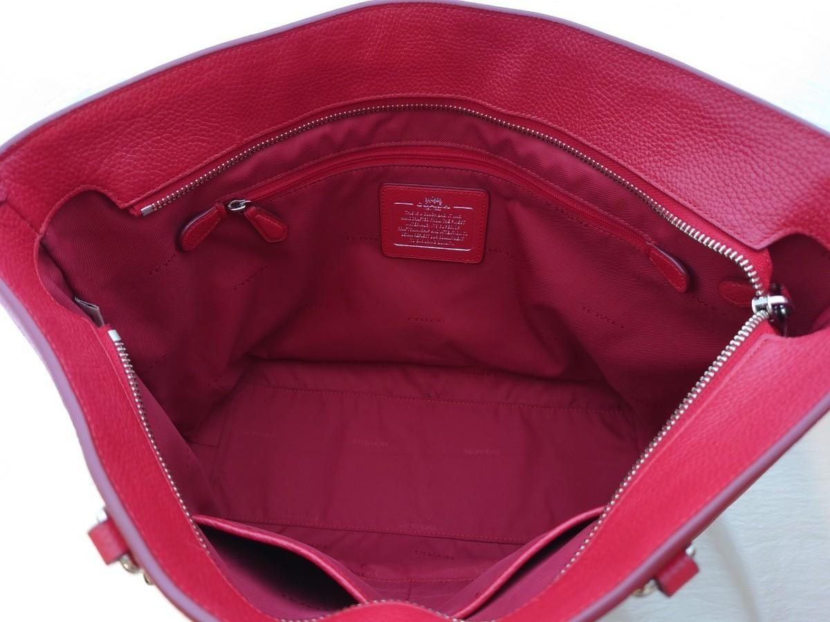 COACH コーチ ショルダーバッグ トートバッグ ハンド レザー レッド 赤 コーチトートバッグ