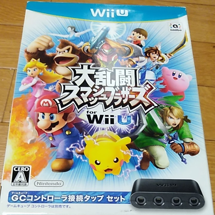 ソフトのトールケース未開封 大乱闘スマッシュブラザーズ for Wii U ニンテンドーゲームキューブコントローラ接続タップセット