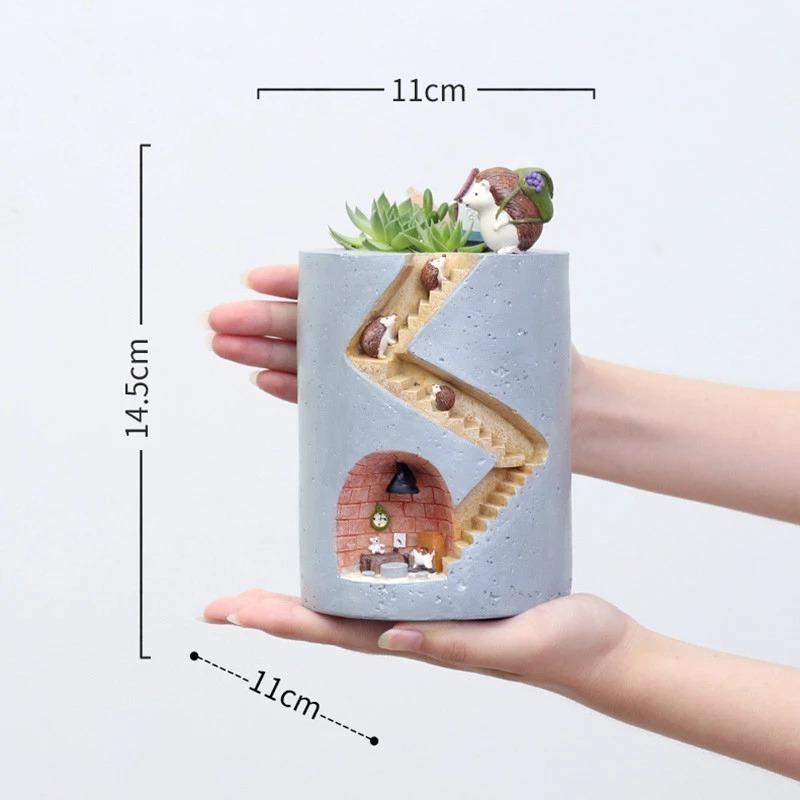 超得☆可愛い♪ハリネズミのフラワーポット☆多肉植物 花 観葉 園芸 ガーデニング プランター 花瓶 植木鉢 インテリア 小物 装飾 動物_画像3