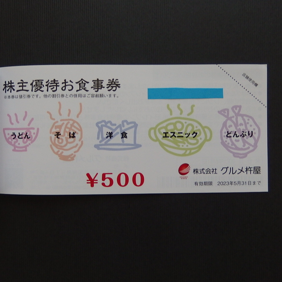 ☆ JBイレブン・グルメ杵屋 株主優待お食事券 500円券×4枚 ☆_画像3