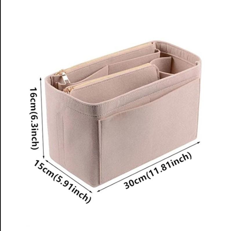 ベージュ  バッグインバッグ インナーバッグ 大容量 フェルト 軽量 バックインバック 仕切り 高級感