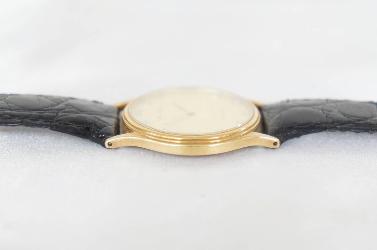 電池交換済 稼働品 mon chere モンシェル MC-001M 750 刻印 12Pダイヤ 総重量:約23.4g ボーイズ クォーツ 腕時計 07N919_画像3