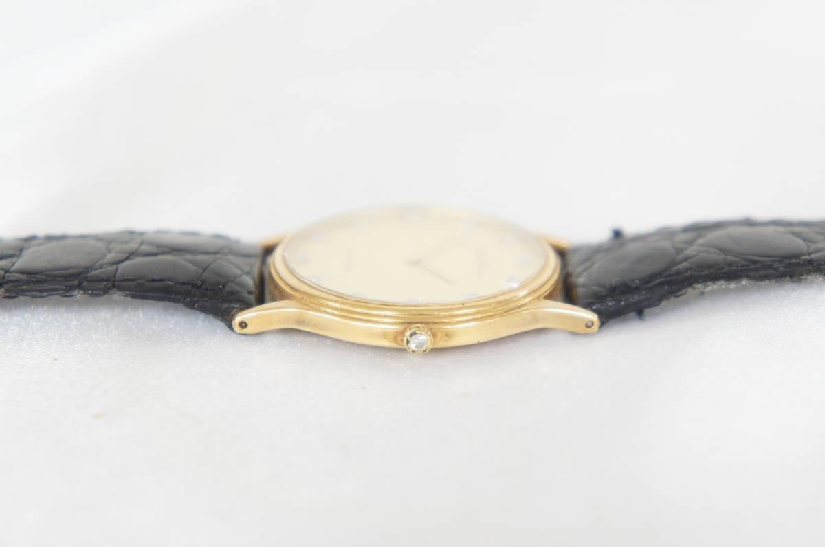 電池交換済 稼働品 mon chere モンシェル MC-001M 750 刻印 12Pダイヤ 総重量:約23.4g ボーイズ クォーツ 腕時計 07N919_画像2