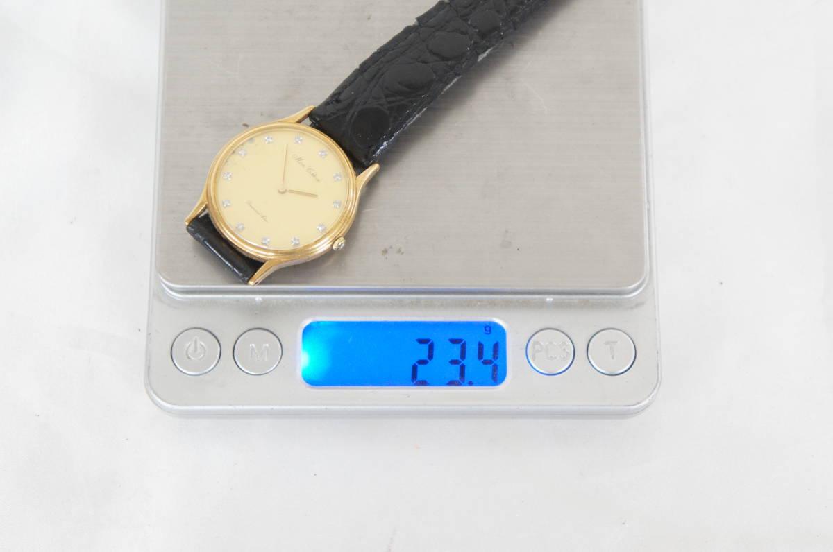 電池交換済 稼働品 mon chere モンシェル MC-001M 750 刻印 12Pダイヤ 総重量:約23.4g ボーイズ クォーツ 腕時計 07N919_画像9