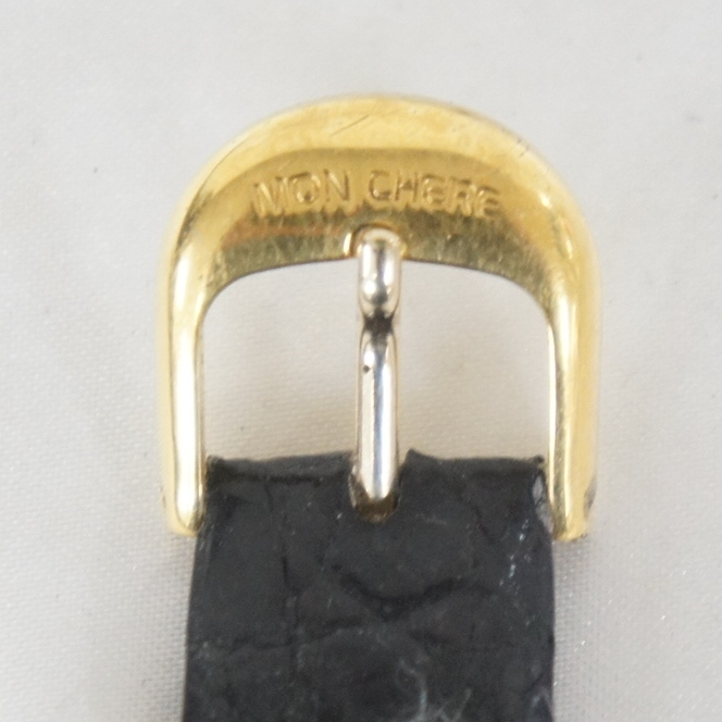 電池交換済 稼働品 mon chere モンシェル MC-001M 750 刻印 12Pダイヤ 総重量:約23.4g ボーイズ クォーツ 腕時計 07N919_画像5