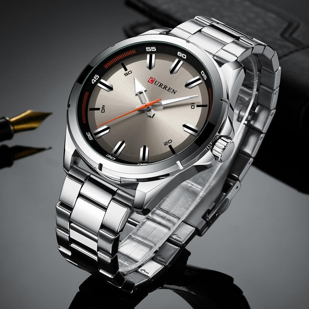 【中古売ります】【最安値に挑戦】カレンステンレス鋼メンズ腕時計シンプルなクォーツ腕時計ミリタリー軍時計男性レロジオのmasculino_画像1
