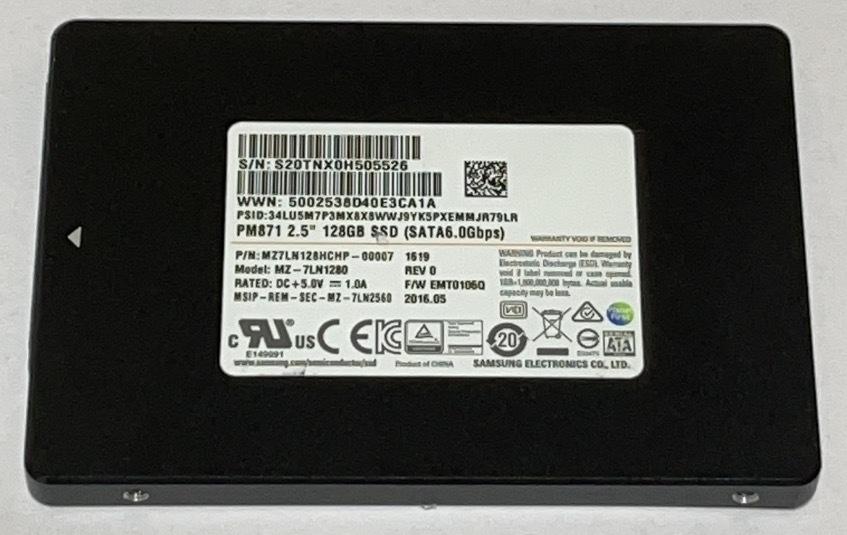 使用時間450H 2.5インチ SAMSUNGMZ7LN128HCHP-00007 128GB 072204