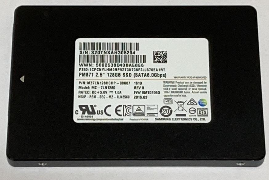 使用時間398H 2.5インチ SAMSUNGMZ7LN128HCHP-00007 128GB 072203