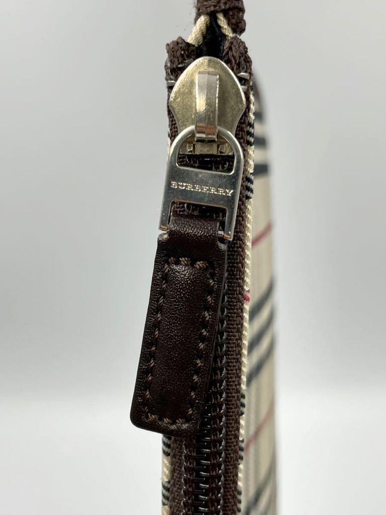 バーバリー ポーチ ダークブラウン×チェック 未使用品 セカンドバッグ カバン メンズ 化粧ポーチ レディース マルチケース 財布