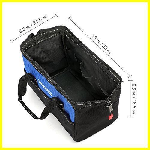 1R 新品 道具袋 工具差し入れ 工具バッグ ツールバッグ 在庫限り 大口収納 WORKPRO 600Dオックスフォード 13-Inch ワイドオープ_画像2